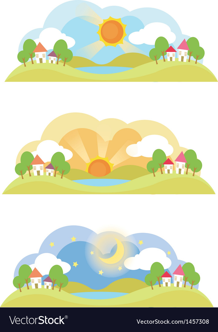 Landscape in the morning noon and at night vector | Price: 1 Credit (USD $1)