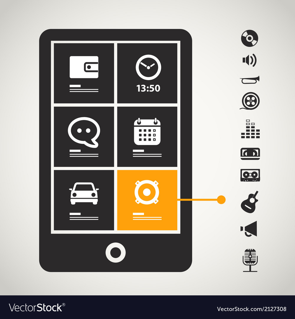 Modern mobile phone with sound icons vector | Price: 1 Credit (USD $1)
