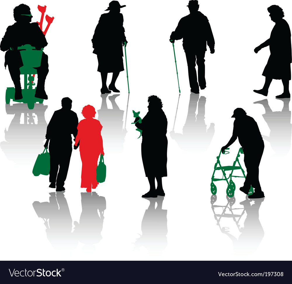 Old and disabled people vector | Price: 1 Credit (USD $1)