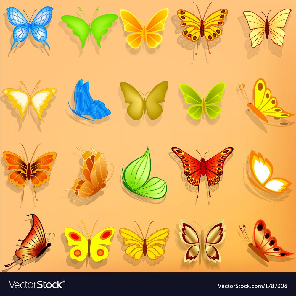 Set of realistic butterflies vector | Price: 1 Credit (USD $1)