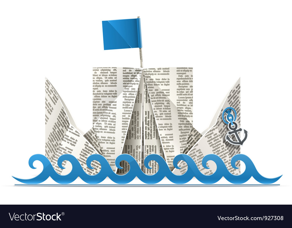 Ship with flag paper origami vector | Price: 1 Credit (USD $1)