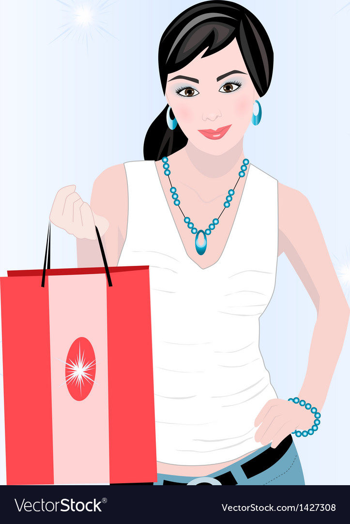 Shopping girl vector | Price: 1 Credit (USD $1)