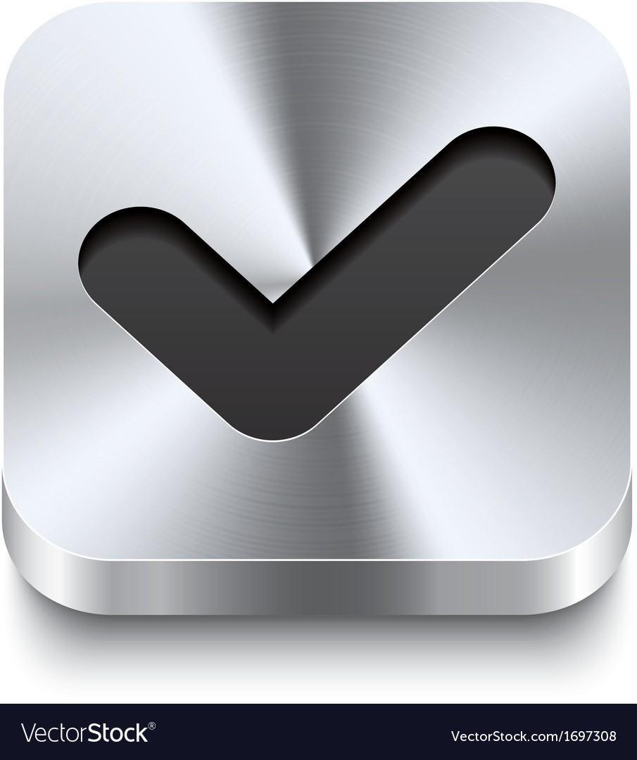 Square metal button perspektive - checkmark icon vector | Price: 1 Credit (USD $1)