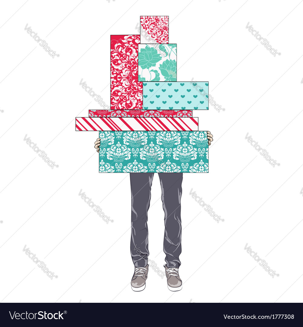 Tsvenye man holding gift boxes vector | Price: 1 Credit (USD $1)