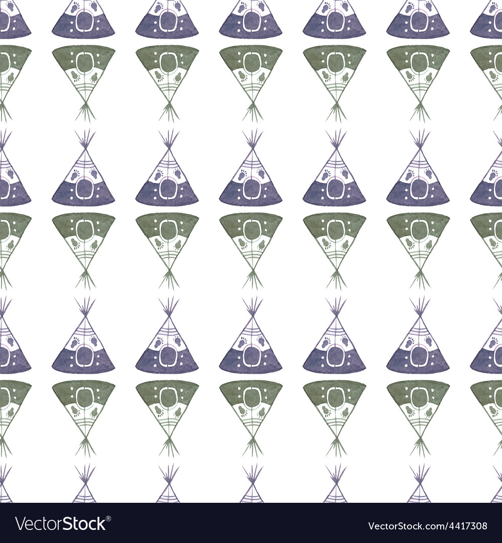 Watercolor seamless pattern with teepee on the vector | Price: 1 Credit (USD $1)