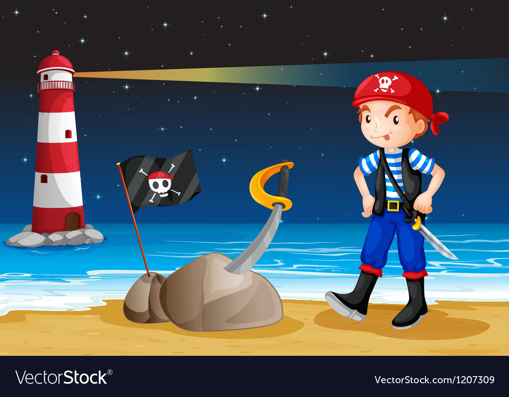 A pirate near the lighthouse vector | Price: 1 Credit (USD $1)