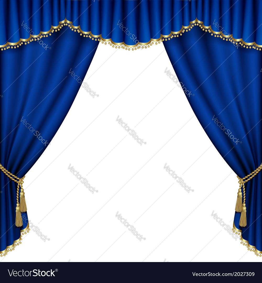 Blue curtain vector | Price: 1 Credit (USD $1)