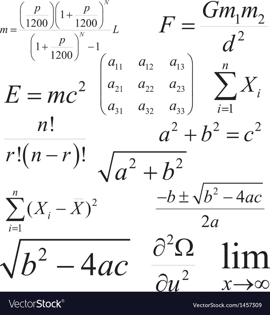 Mathematics and physics formulas and expressions vector | Price: 1 Credit (USD $1)