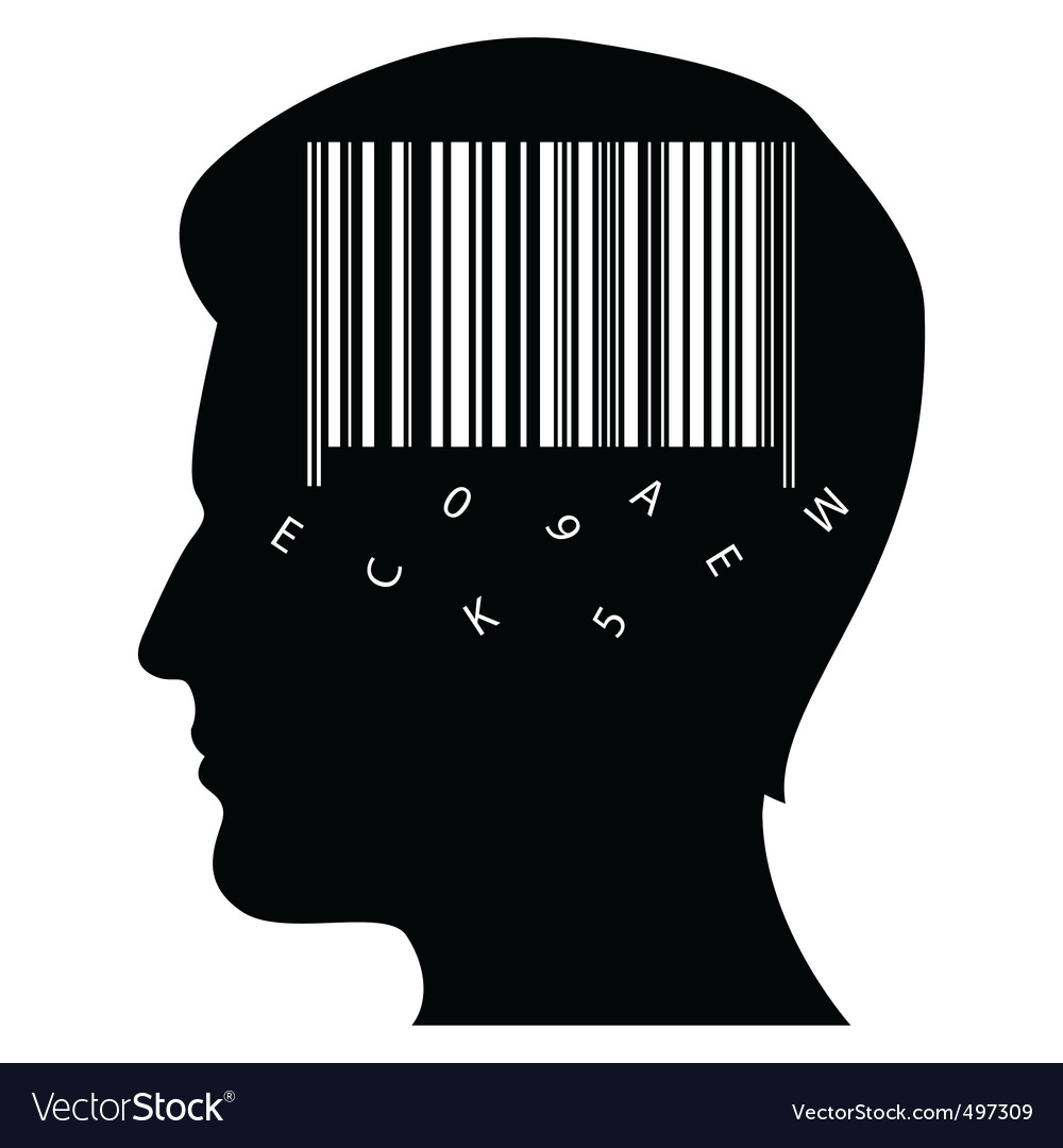 Mind with barcode vector