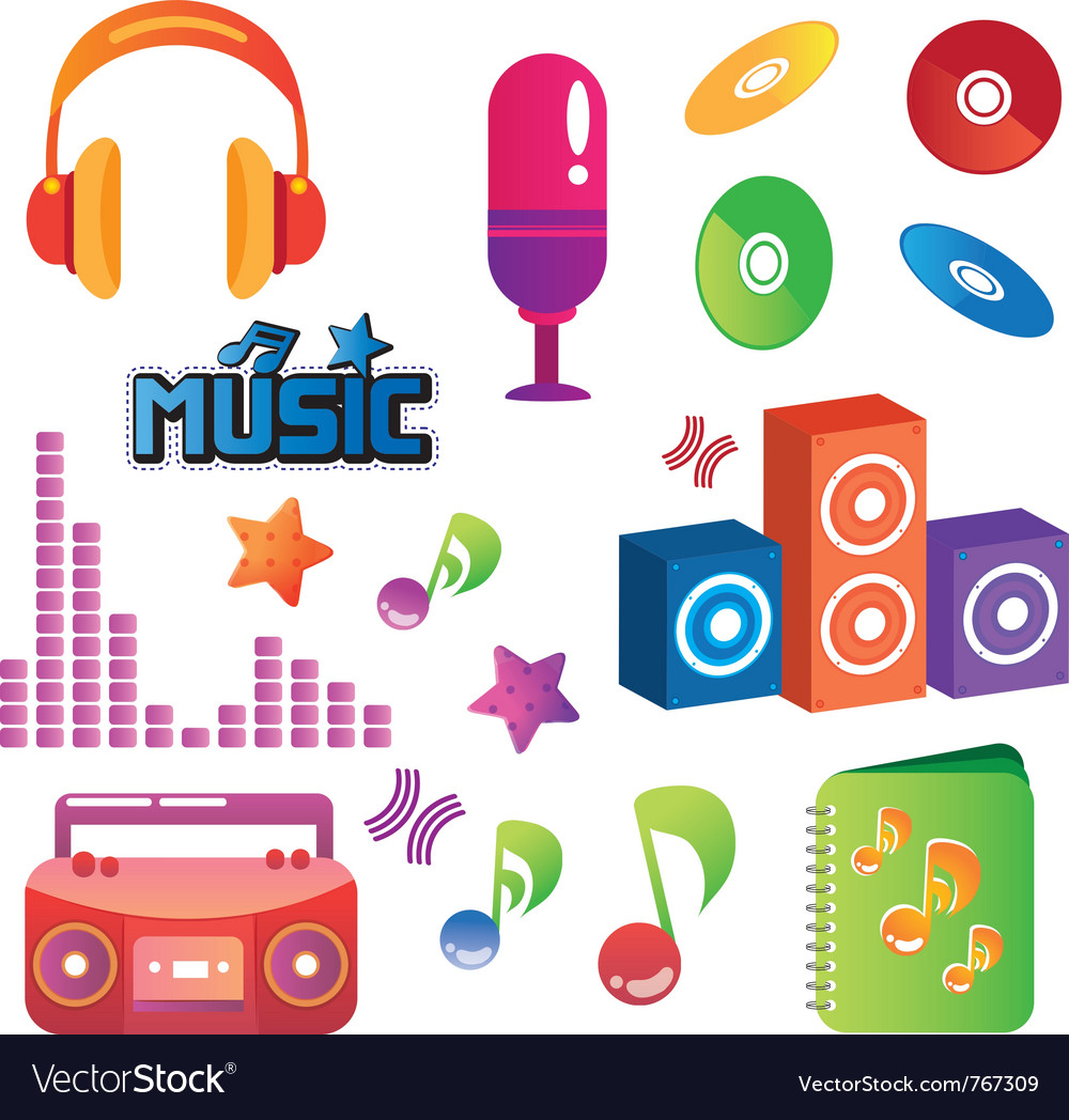 Music elements set vector | Price: 1 Credit (USD $1)