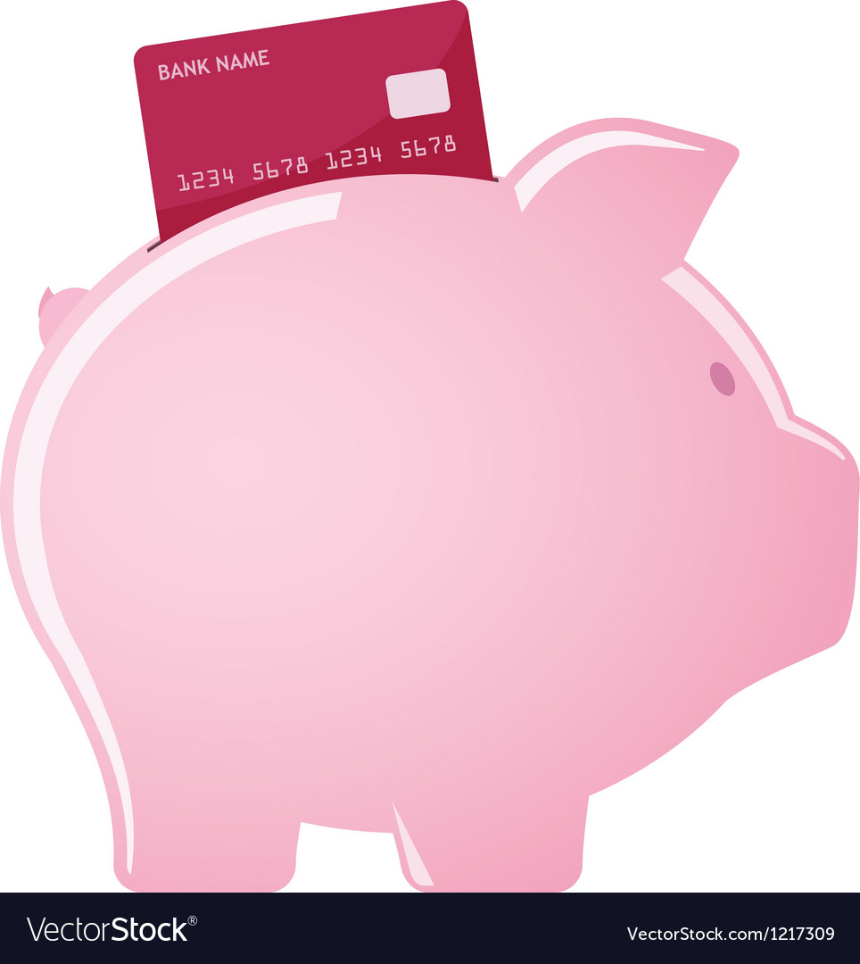 Piggy bank accepting credit cards vector | Price: 1 Credit (USD $1)