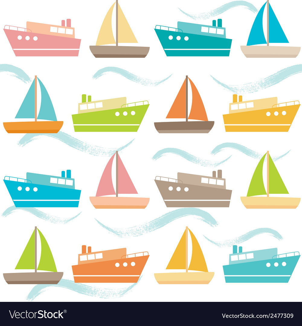 Seamless pattern with ships and waves vector | Price: 1 Credit (USD $1)