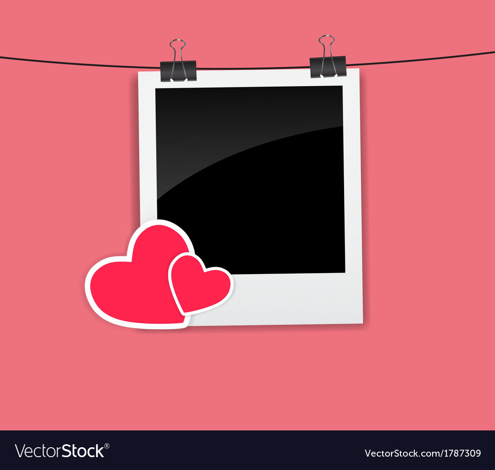 Valentines day photo card with heart vector | Price: 1 Credit (USD $1)