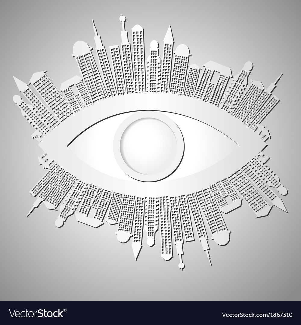 Abstract background with eye and buildings vector | Price: 1 Credit (USD $1)
