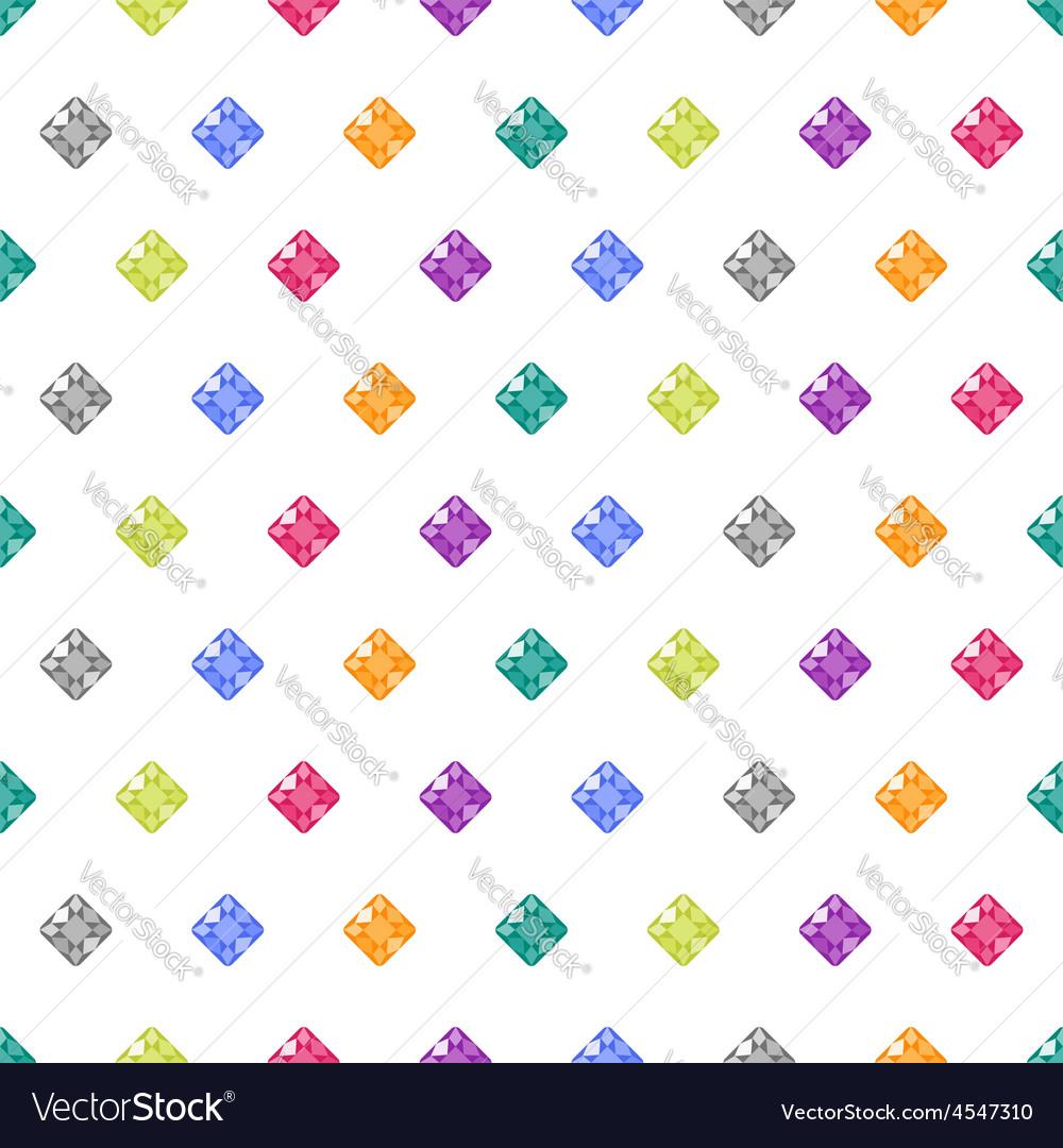 Cartoon gems white seamless pattern vector | Price: 1 Credit (USD $1)