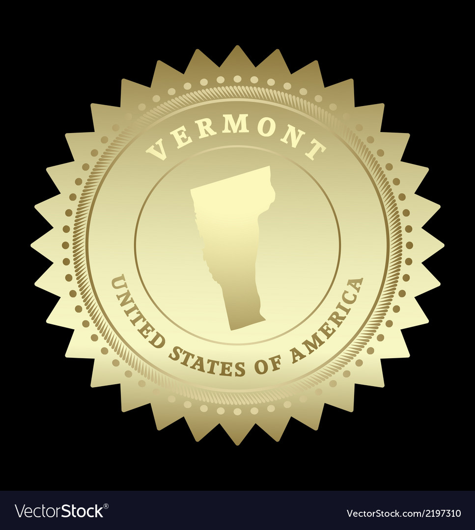 Gold star label vermont vector | Price: 1 Credit (USD $1)
