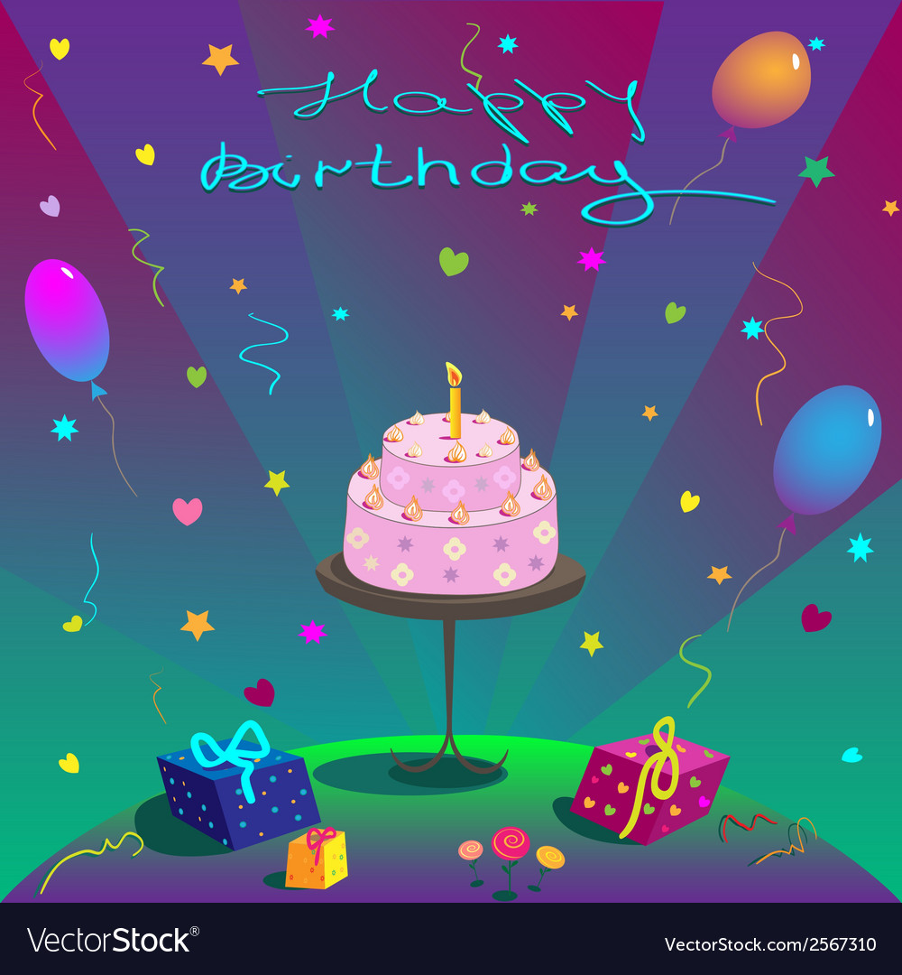 Happy birthday gifts cake ballons and stars vector | Price: 1 Credit (USD $1)