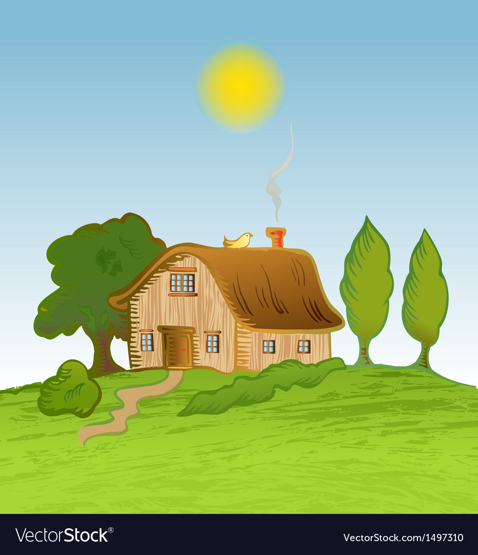 House background with trees vector   Price: 1 Credit (USD $1)
