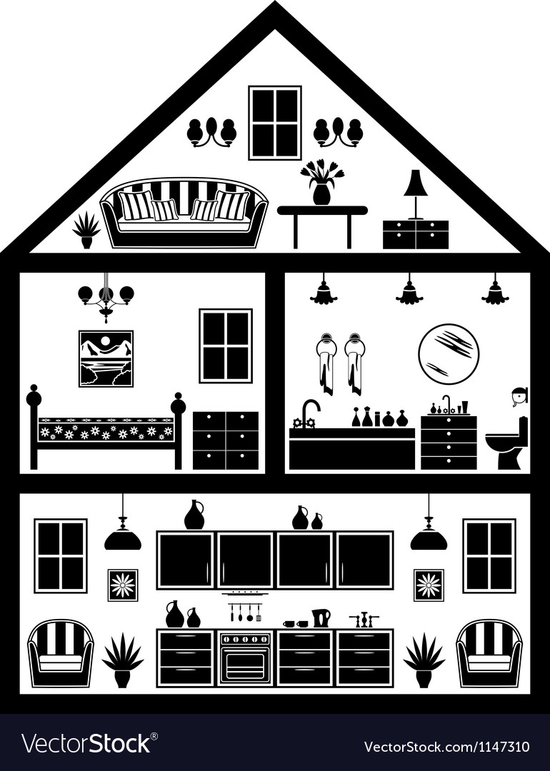 Icon of house with planning vector | Price: 1 Credit (USD $1)