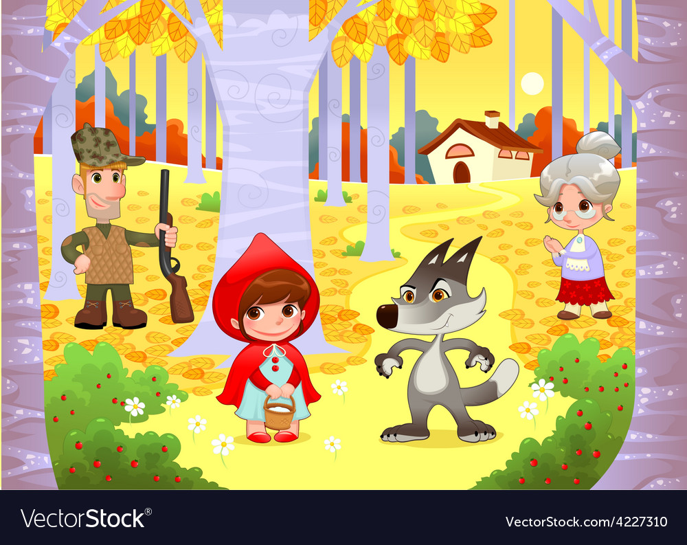 Little red hiding hood scene vector | Price: 3 Credit (USD $3)