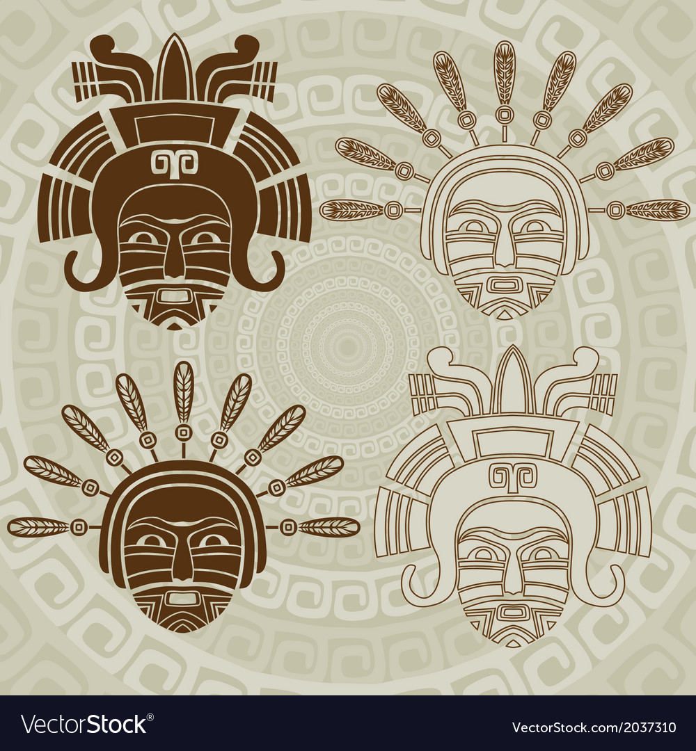 Native american mask stencil and stroke variant vector | Price: 1 Credit (USD $1)