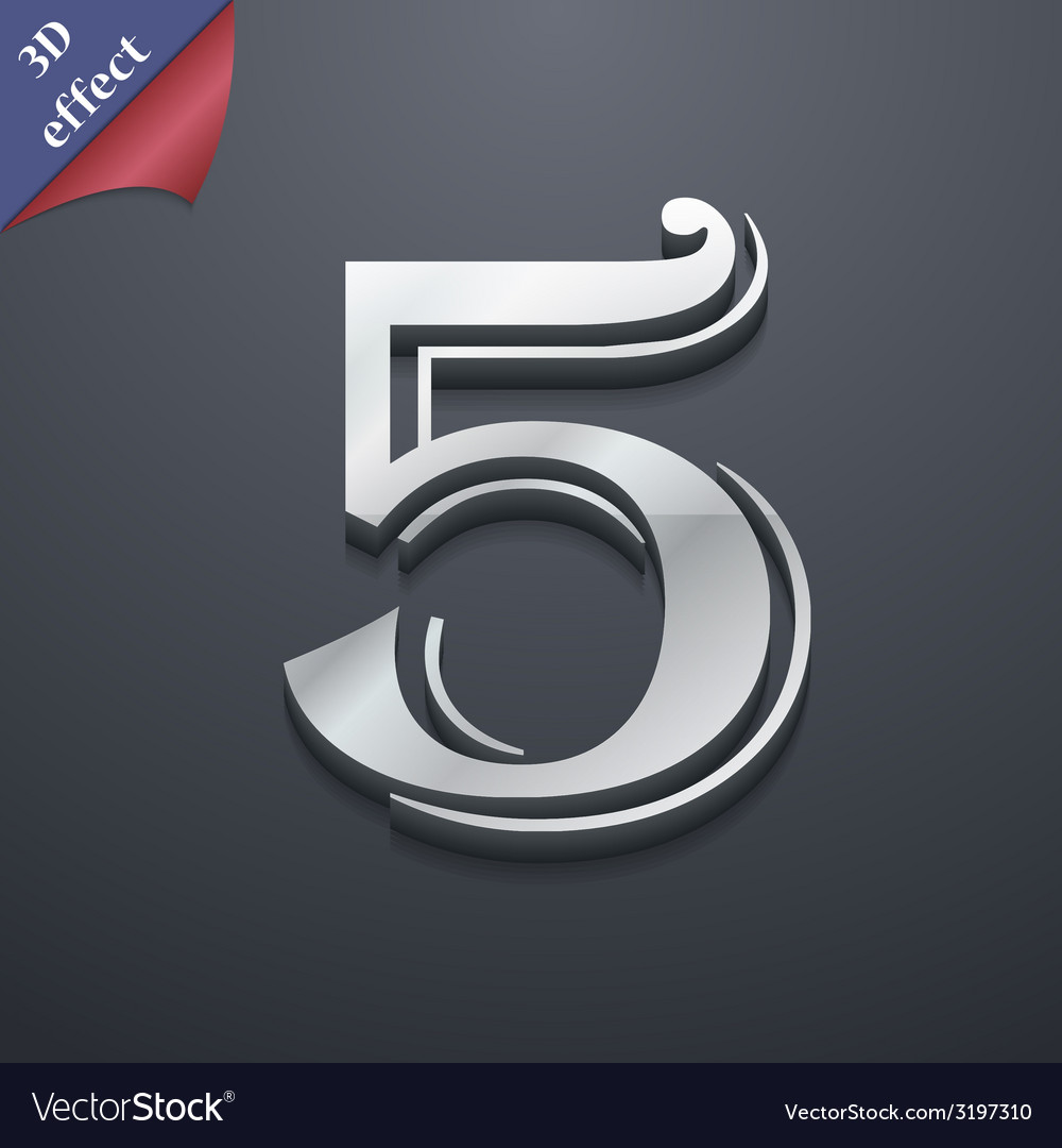 Number five icon symbol 3d style trendy modern vector | Price: 1 Credit (USD $1)