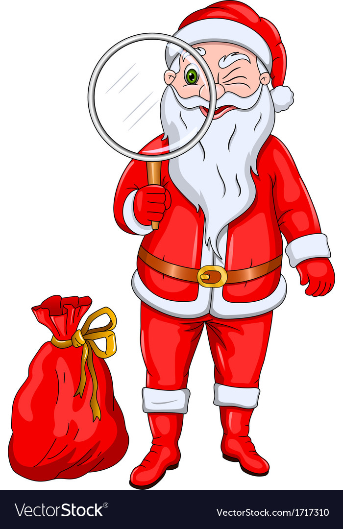 Santa claus with magnify glass vector | Price: 1 Credit (USD $1)