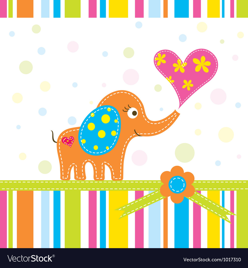 Scrapbook elephant greeting card vector | Price: 1 Credit (USD $1)