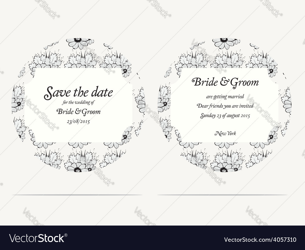 Wedding invitation cards with grey flowers vector | Price: 1 Credit (USD $1)