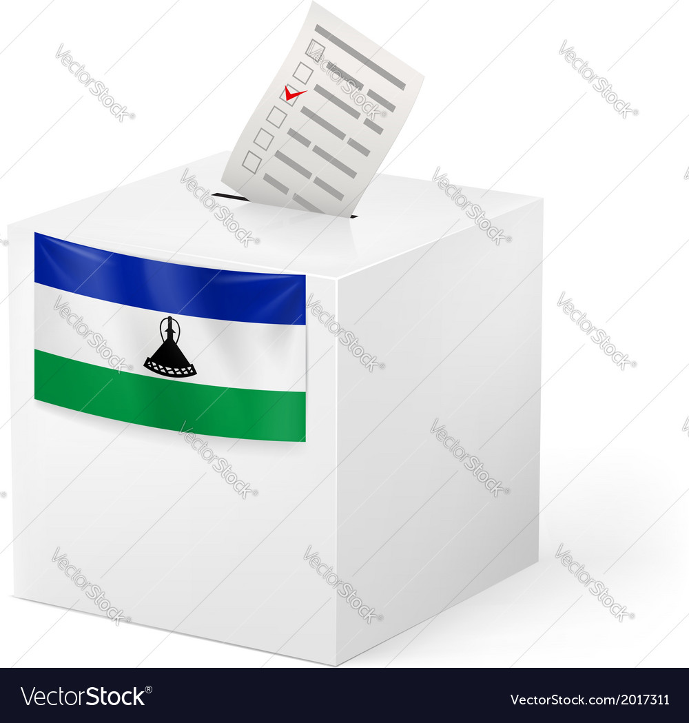 Ballot box with voting paper lesotho vector | Price: 1 Credit (USD $1)