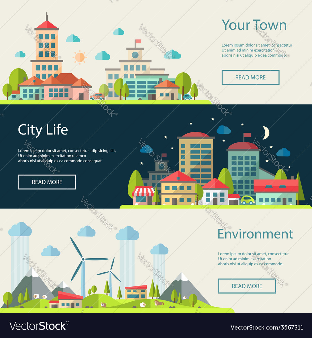Flat design urban landscape compositions vector