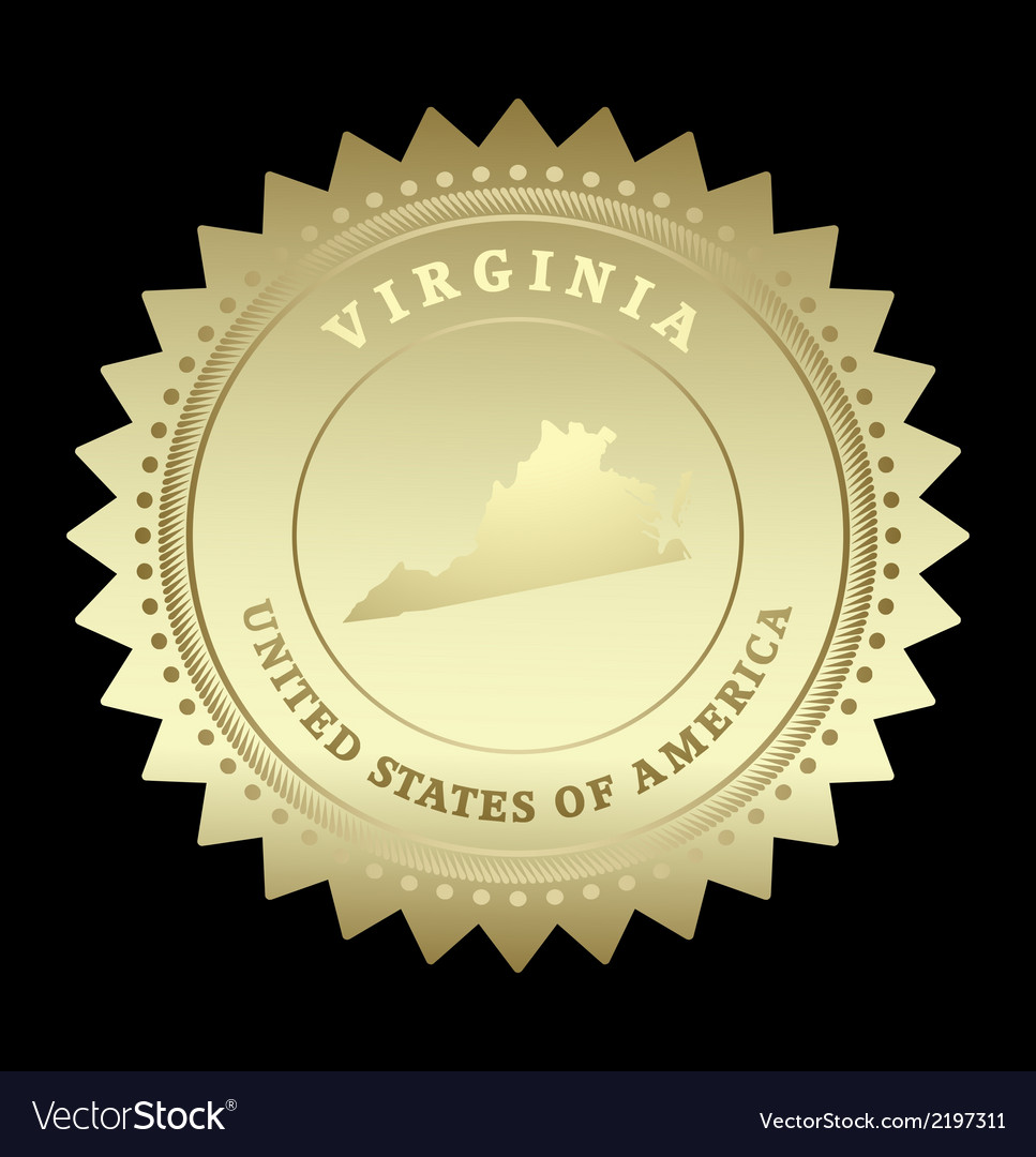 Gold star label virginia vector | Price: 1 Credit (USD $1)