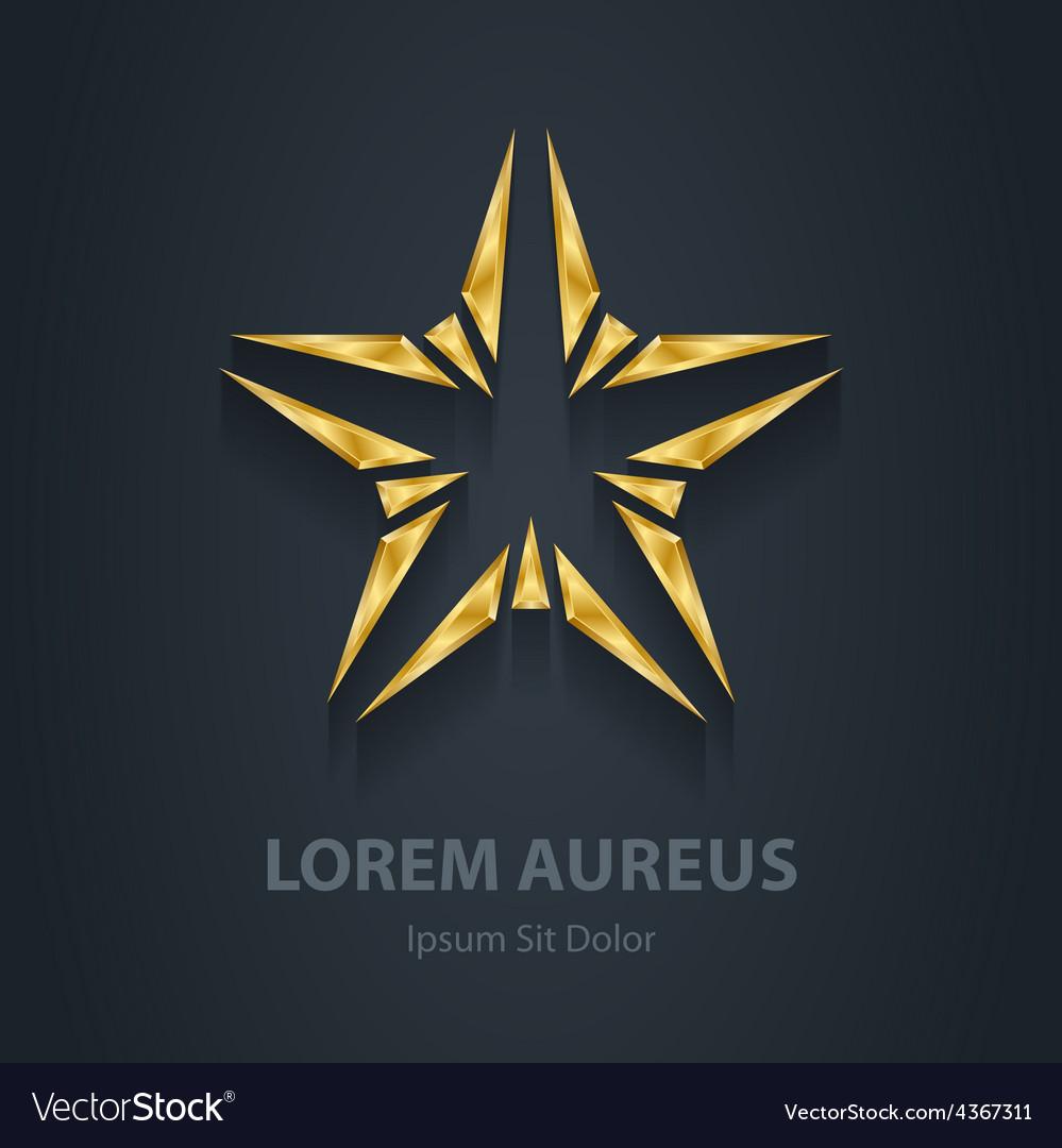 Gold star logo award 3d icon golden logotype vector | Price: 1 Credit (USD $1)