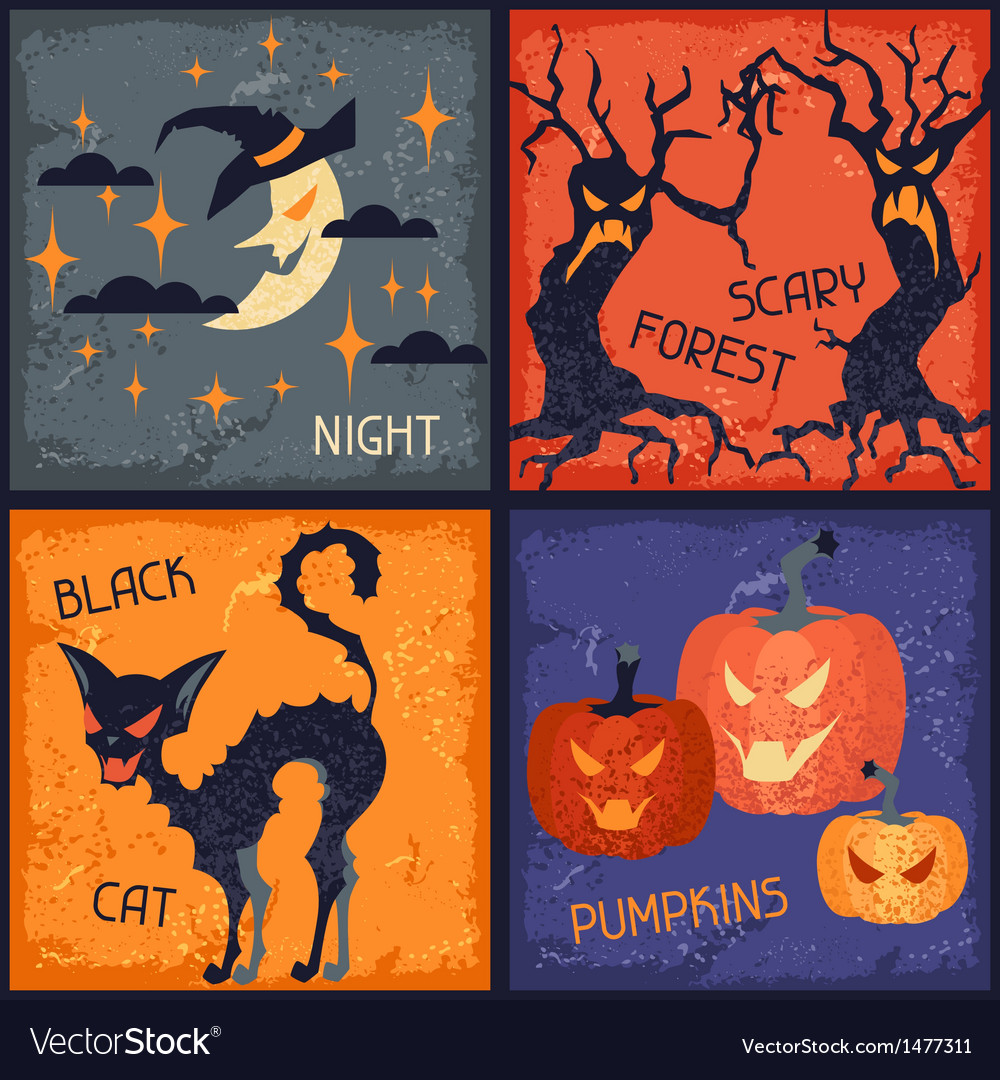 Happy halloween grungy retro backgrounds vector | Price: 3 Credit (USD $3)
