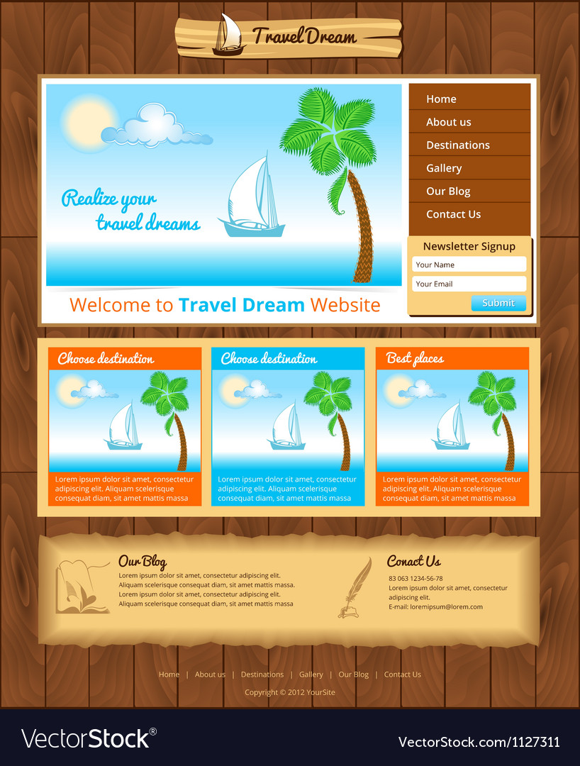 Sea travel webtemplate vector | Price: 1 Credit (USD $1)
