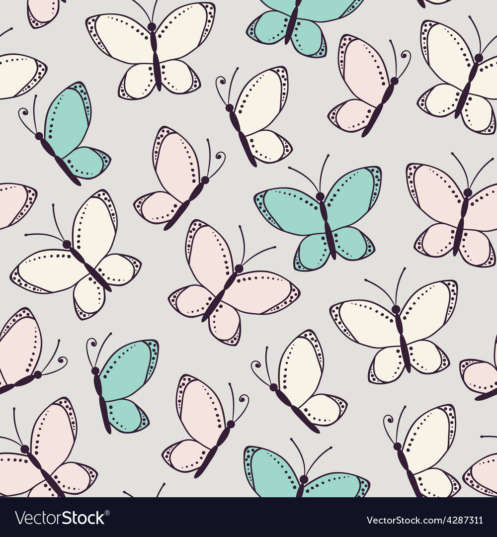 Seamless pattern background with butterflies vector | Price: 1 Credit (USD $1)