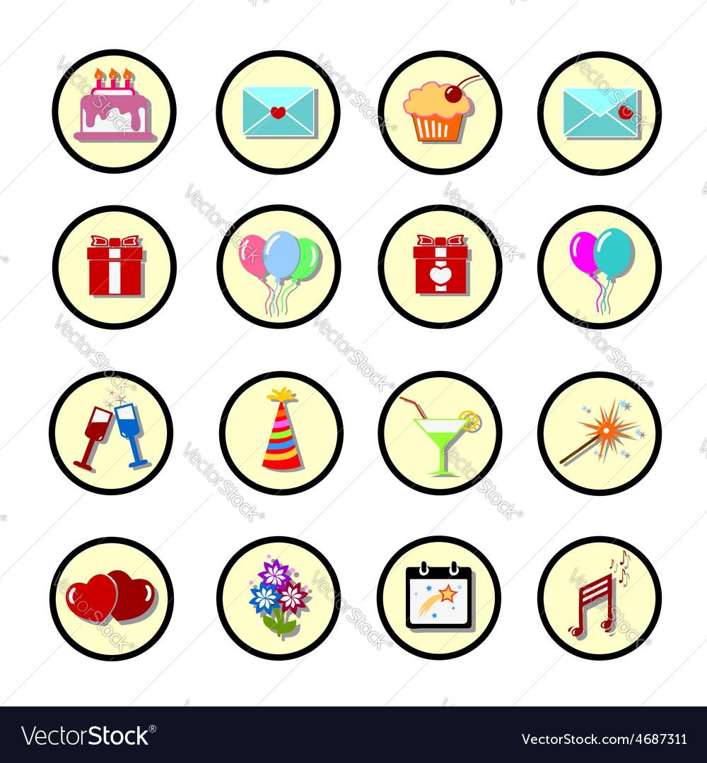 Set of celebratory icons symbols vector | Price: 1 Credit (USD $1)
