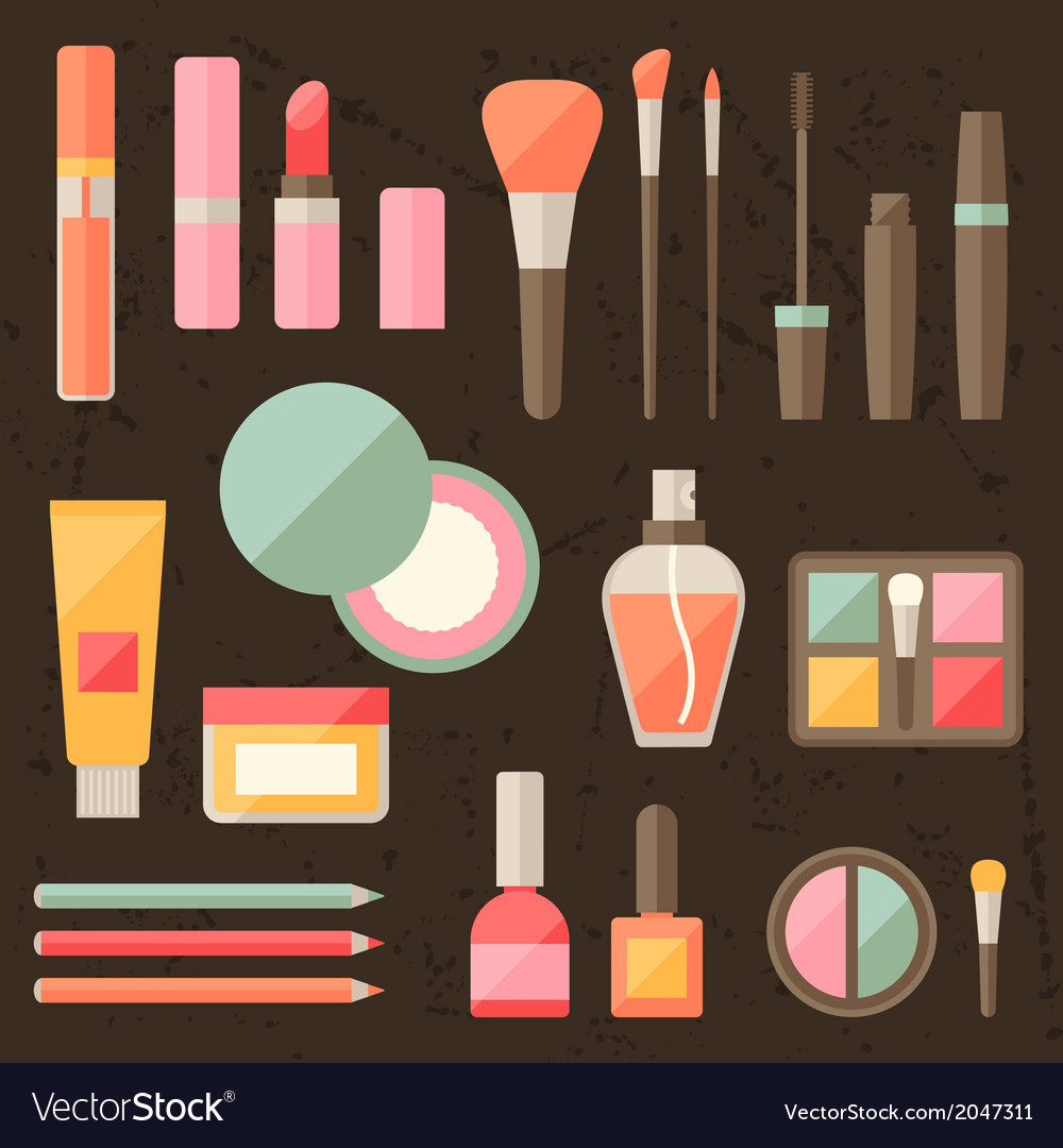 Set of colored cosmetics icons in flat style vector | Price: 1 Credit (USD $1)