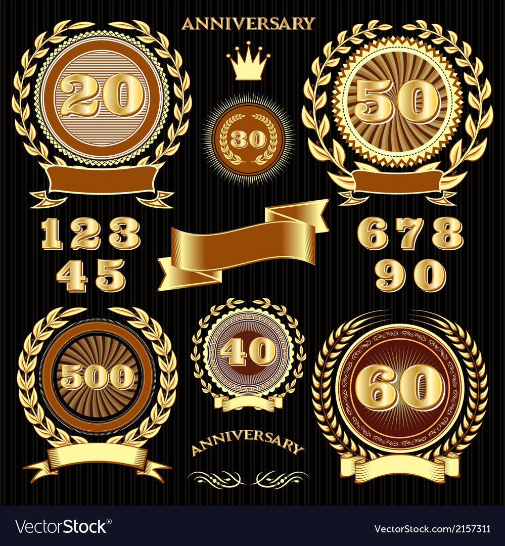 Set retro signs for the anniversary vector | Price: 1 Credit (USD $1)