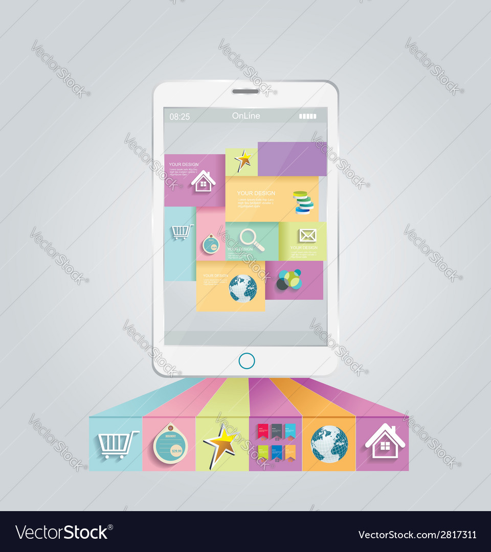 Smartphone with stylish modern colorful user vector | Price: 1 Credit (USD $1)