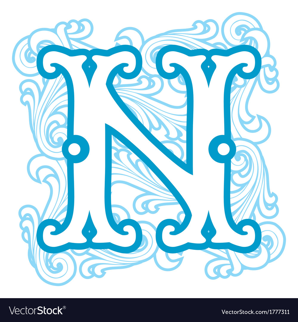 Winter vintage letter n vector | Price: 1 Credit (USD $1)