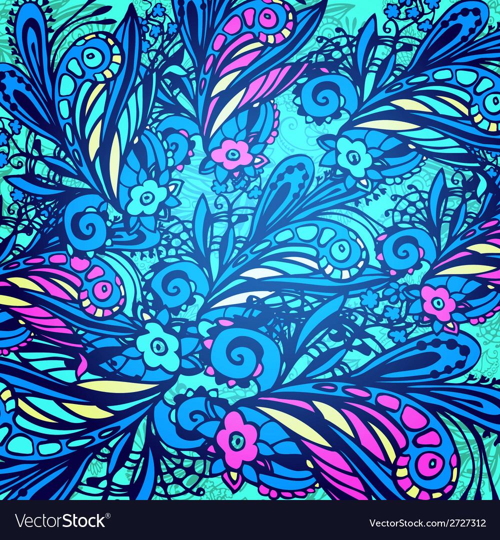 Blue flower seamless pattern vector | Price: 1 Credit (USD $1)
