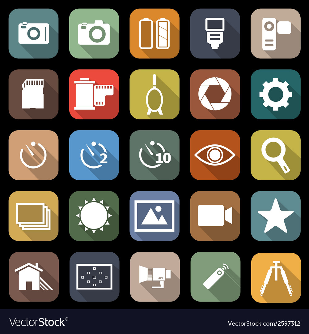 Camera flat icons with long shadow vector | Price: 1 Credit (USD $1)