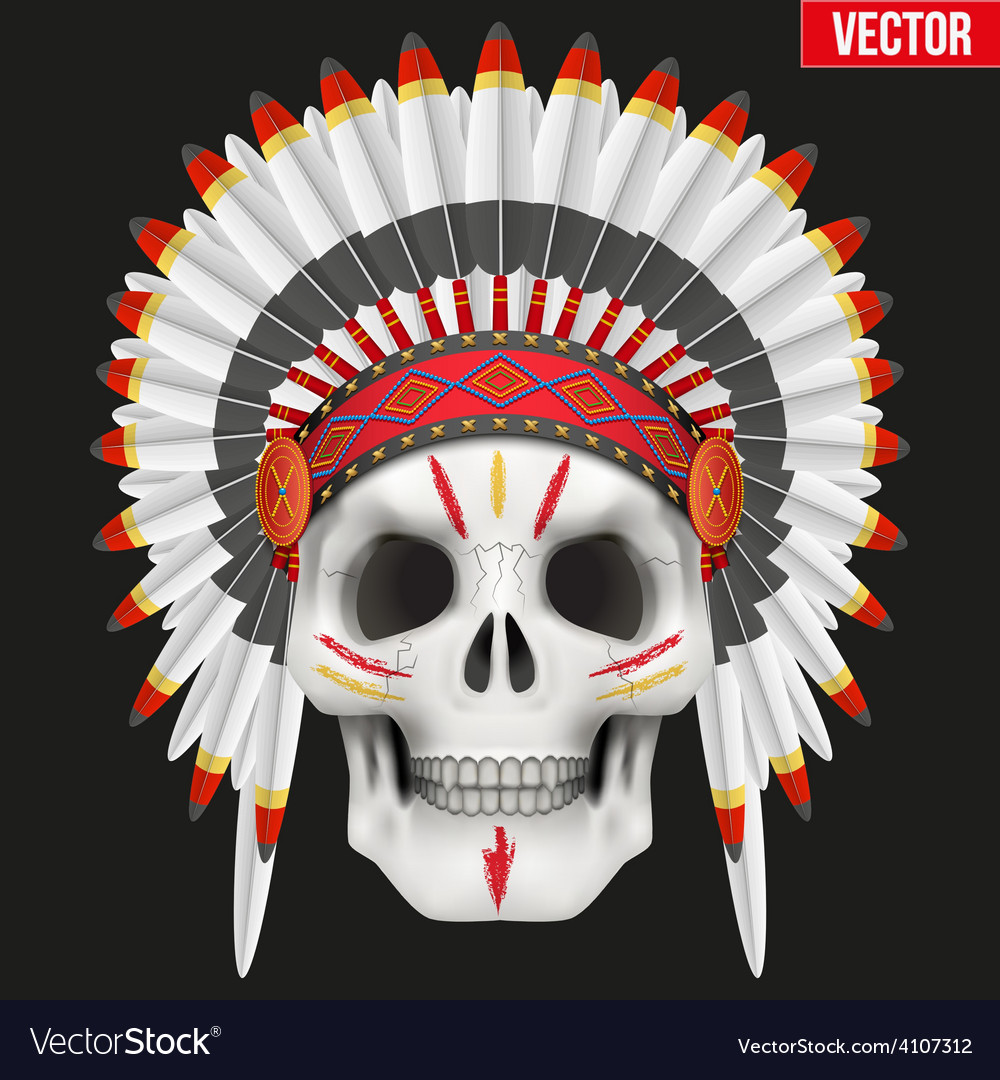 Human skull with indian chief hat and war paint vector | Price: 3 Credit (USD $3)