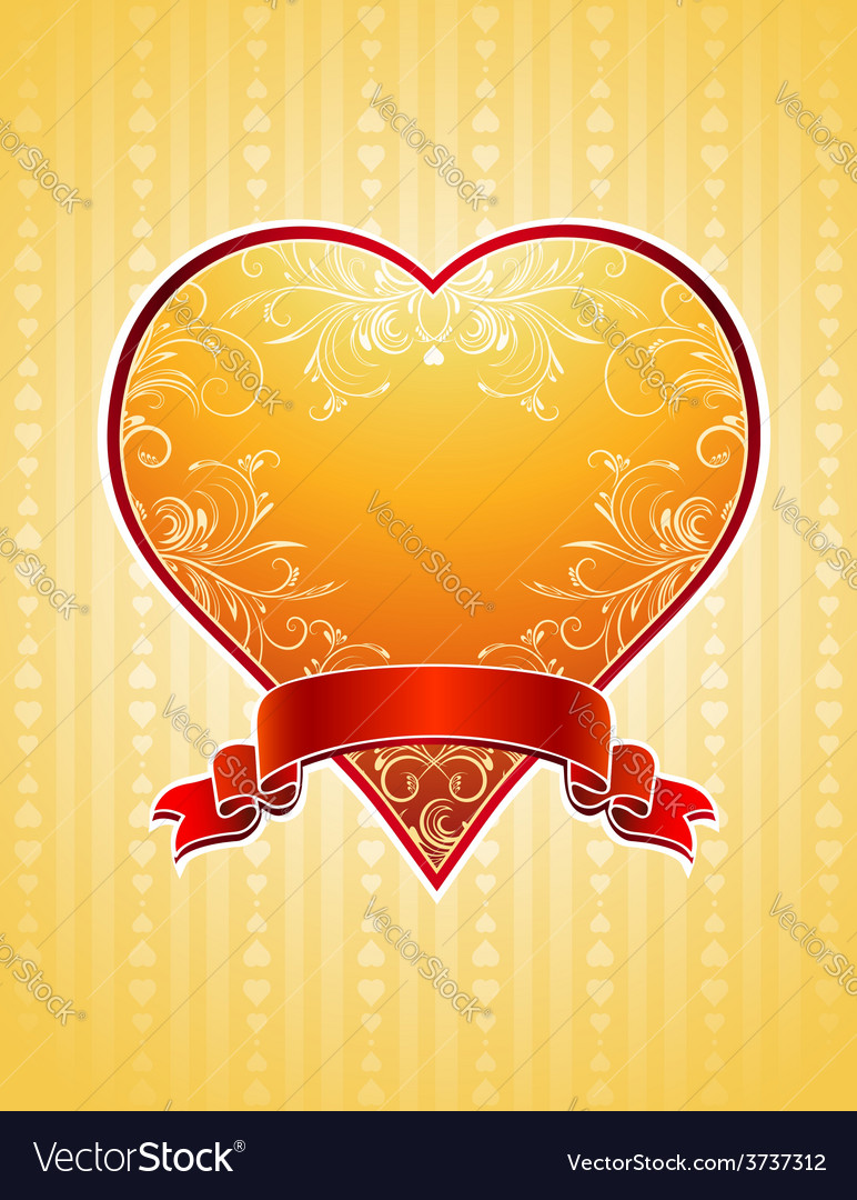 Lovely golden valentine heart with red ribbon vector | Price: 1 Credit (USD $1)