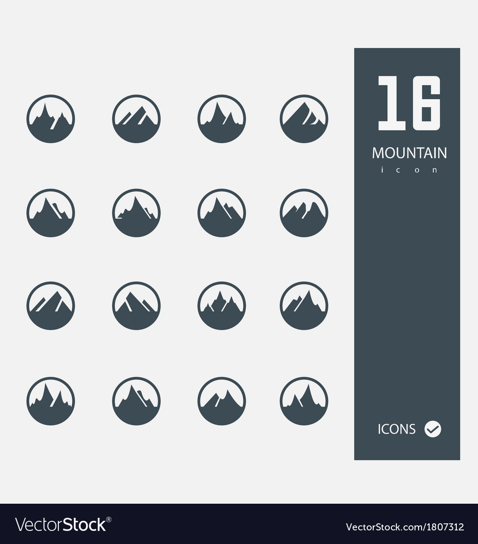 Mountain icons set of 16 quality icons vector | Price: 1 Credit (USD $1)