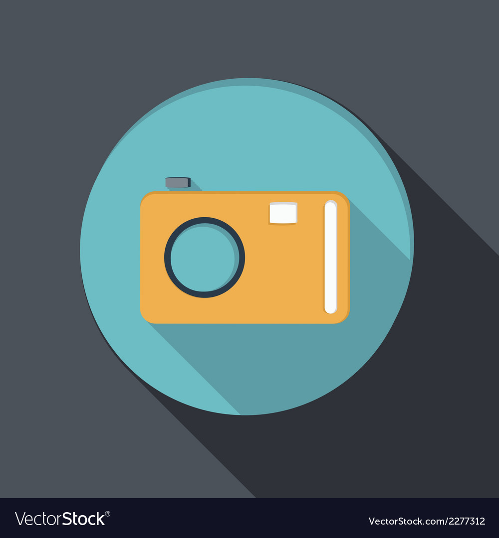 Paper flat icon with a shadow photo camera vector | Price: 1 Credit (USD $1)