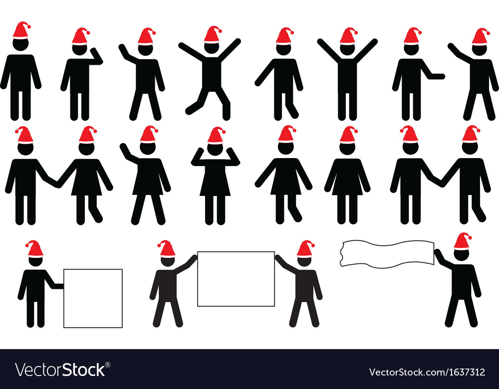 People pictograms with christmas hats vector | Price: 1 Credit (USD $1)