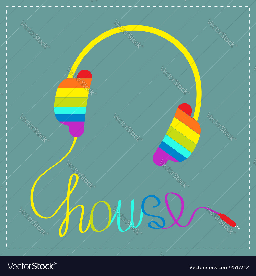 Rainbow headphones with cord word hous blue vector | Price: 1 Credit (USD $1)