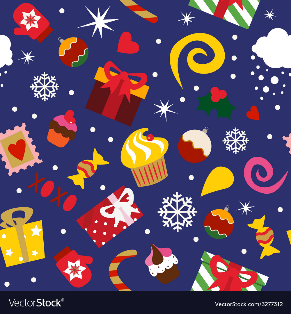 Seamless print christmas elements vector | Price: 1 Credit (USD $1)